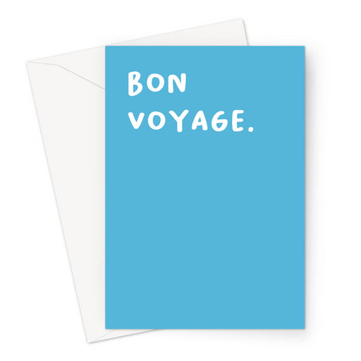 Bon Voyage. Greeting Card | French You're Leaving Card, Going Away Travelling, Good Bye, Good Luck On Your Travels, Blue