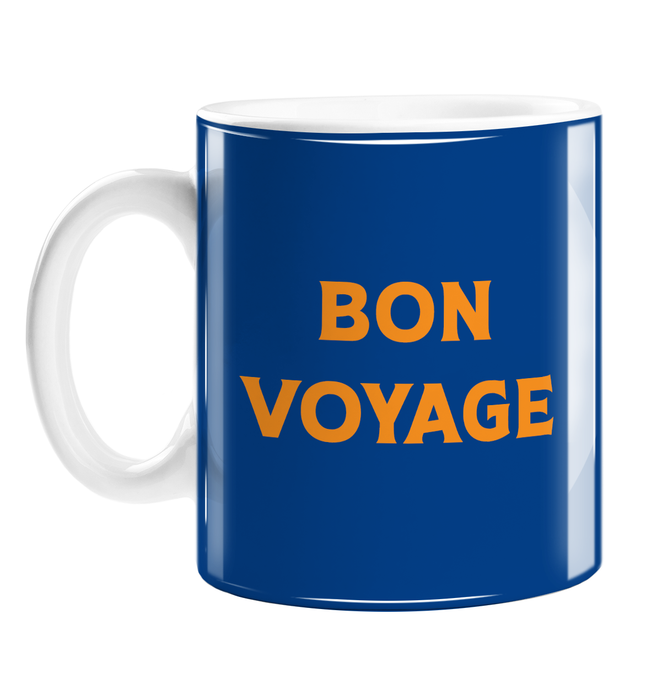 Bon Voyage Mug | Goodbye Gift, Travel, Travelling, French Good Luck On Travels, Pop Art