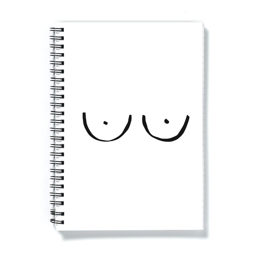 Boobs A5 Notebook | Monochrome Boob Print Notebook, Rude Notebook, Abstract Nude Notebook, Female Empowerment Notebook, LGBT Notebook