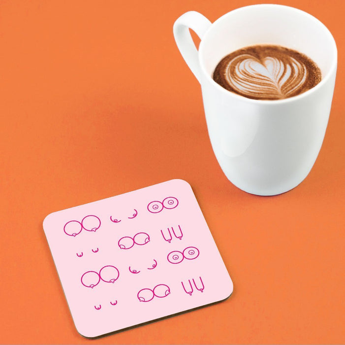 Boobs Illustration Pink Coaster | Boob Print Drinks Mat, Different Shaped Breasts, Abstract Nude, Funny Coaster, Female Empowerment Coaster, LGBTQ+