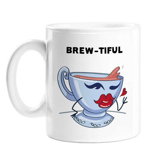Brew-tiful Mug | Cute, Funny Cup Of Tea Pun Gift, Beautiful, Flirty Tea Cup Winking With Pouty Lips, Love Gift, Valentine's, Anniversary