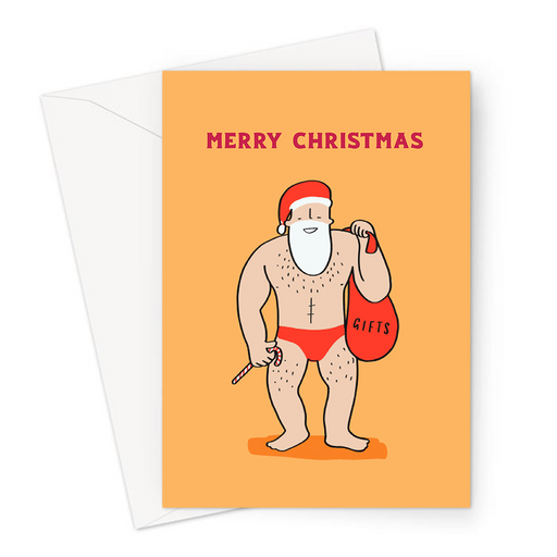 Buff Male Santa Merry Christmas Greeting Card | Funny Christmas Card, LGBT, Sexy Santa With Sack Of Presents
