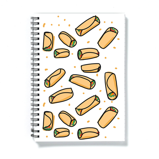 Burrito Print A5 Notebook | Burritos Pattern Notepad, Mexican Food, Burrito Illustration, Breakfast Burrito, Veggie Burrito