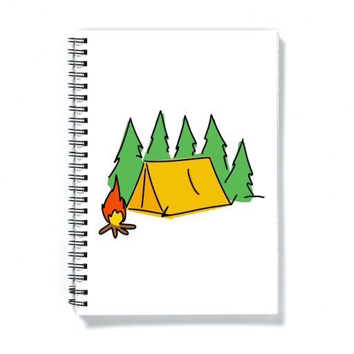 Camping Print A5 Notebook | Tent Illustration Notepad For Camper, Adventurer, Holiday Diary, Tent In The Woods With Campfire