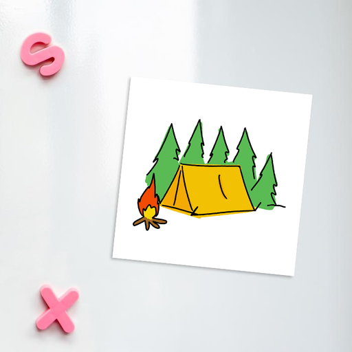 Camping Print Fridge Magnet | Tent Illustration Kitchen Magnet For Camper, Adventurer, Holiday, Tent In The Woods With Campfire