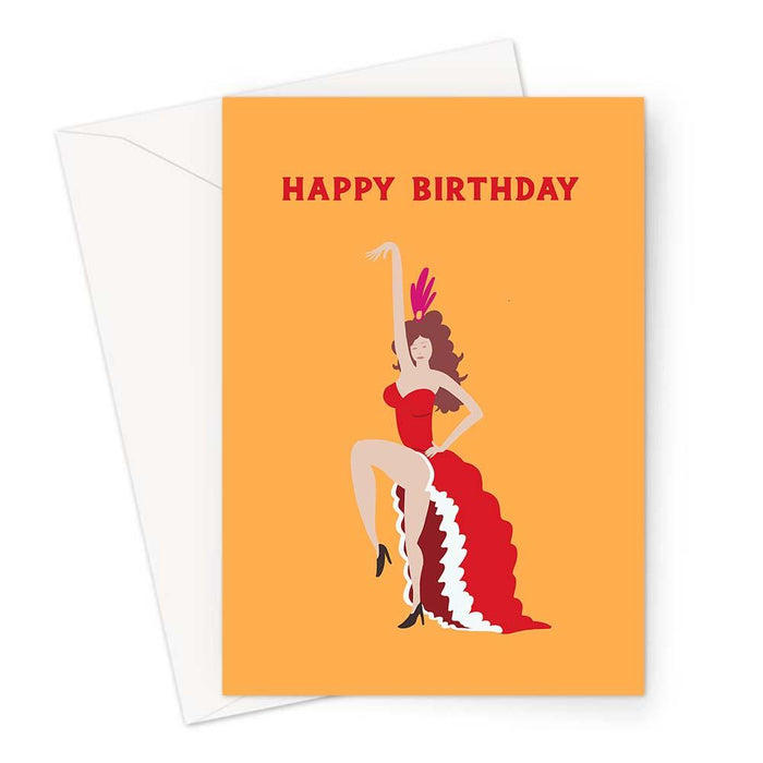 Can Can Dancer Happy Birthday Greeting Card | Sexy Dancer Birthday Card For Her, For Friend, LGBTQ+, Dancing