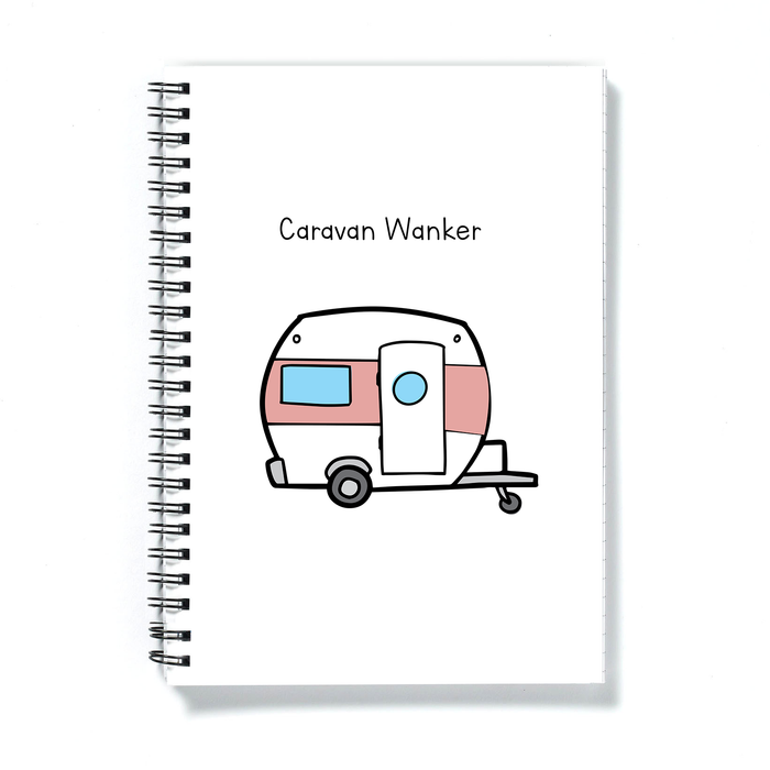 Caravan Wanker A5 Notebook | Rude Gift For Caravan Owner, Funny Notepad For Caravaner