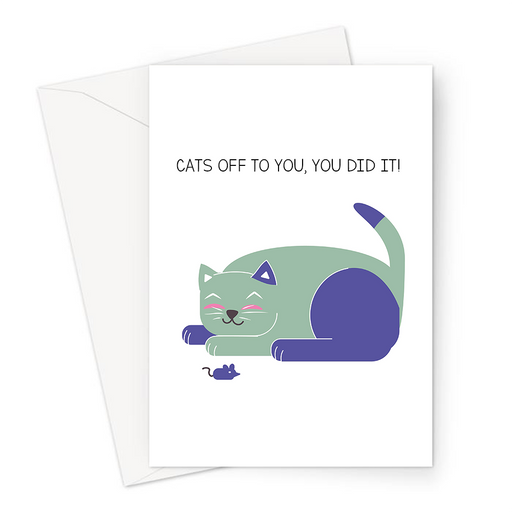 Cats Off To You, You Did It! Greeting Card | Happy Cat Congratulations Card, Well Done, Hats Off To You, Graduation, Passed Exams, New Job, Promotion