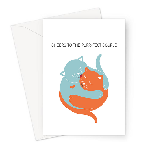 Cheers To The Purr-fect Couple Greeting Card | Cute, Kitten, Funny Cat Pun Engagement Card, Congratulations, Anniversary, Cats Cuddling