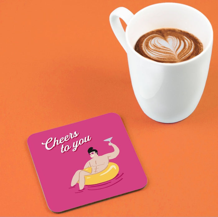 Cheers To You Man In Rubber Ring Coaster | Naked Man Well Done Coaster, Congratulations Coaster, Cheers Coaster, LGBTQ+ Coaster