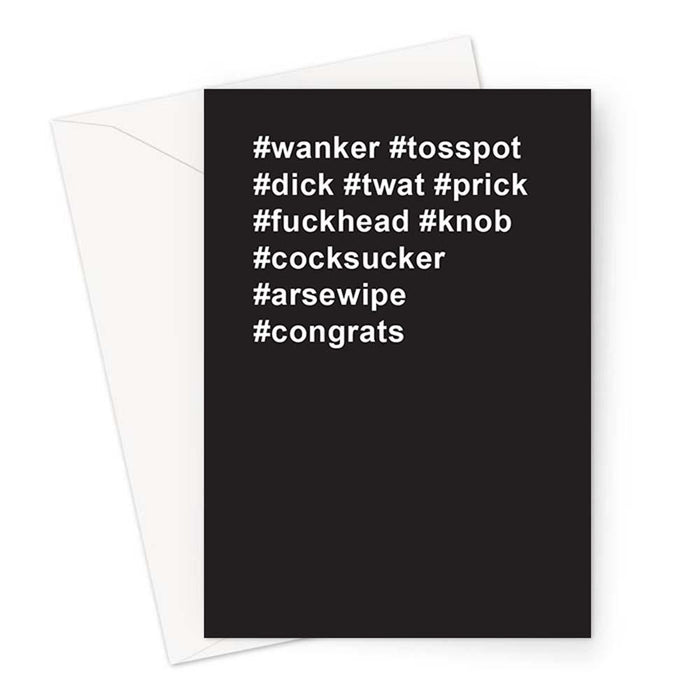 #congrats Greeting Card | Rude Congratulations Card, Offensive Well Done Card, Graduation, Passed Exams, Passed Driving Test, New Job