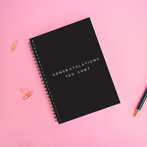 Congratulations You Cunt A5 Notebook | Congratulations Gift, Graduation Gift, Rude Journal, Black and White Notebook, New Job, Well Done