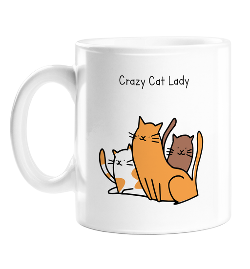 Crazy Cat Lady  Mug | Rude, Funny Gift For Cat Lover, Owner, Kittens, Cats Doodle