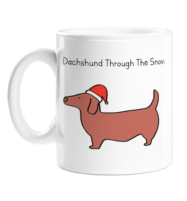 Daschund Through The Snow Mug | Pun Sausage Dog In A Christmas Hat Doodle Christmas Gift, Stocking Filler, For Dog Lover, Owner, Dasher