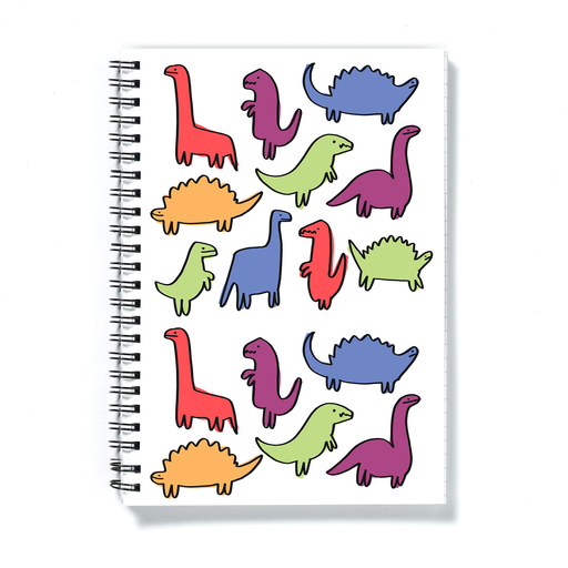 Dinosaur Print A5 Notebook | Dino Pattern Notepad, Different Coloured Dinos Illustration, Different Dinosaurs Print