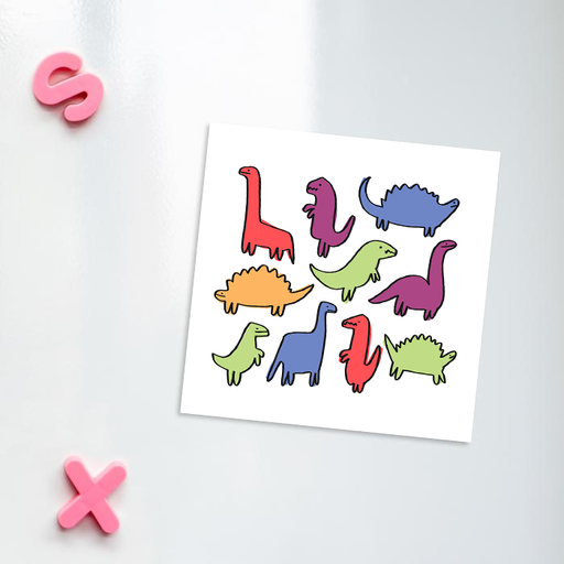 Dinosaur Print Fridge Magnet | Dino Pattern Kitchen Magnet, Different Coloured Dinos Illustration, Different Dinosaurs Print