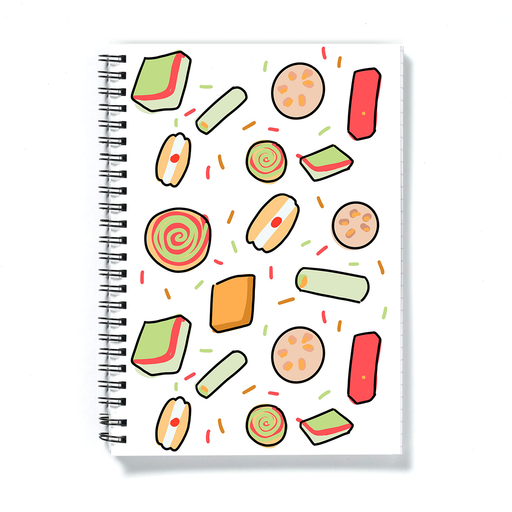 Diwali Sweets Print A5 Notebook | Different Diwali Sweets Notepad, Festival Of Lights, Diwali Sweets Print, Gulab Jamun, Laddu, Barfi, Jalebi, Burfi