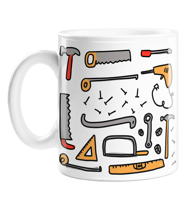 DIY Tools Print Mug | Different Tools Print Coffee Mug, Saw, Hammer, Nails, Screwdriver, Spanner, Ruler, Drill, Measuring Tape, Handyman Mug