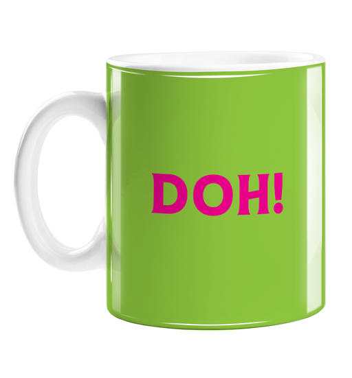 Doh! Mug | Funny Sympathy Gift, Sorry, Accident, Failed Exams, Driving Test, Pop Art