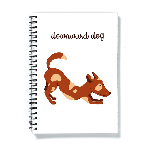 Downward Dog A5 Notebook | Funny Yoga Diary, Gift For Yogi, Yoga Lover, Dog In Downward Dog Position Doodle, Puppy