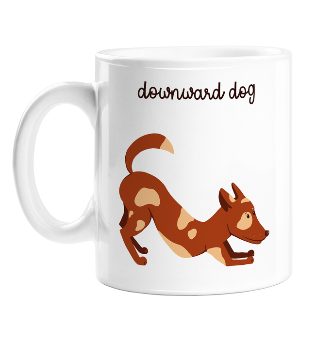 Downward Dog Mug | Funny Coffee Mug, Gift For Yogi, Yoga Lover, Hand Illustrated Dog In Downward Dog Position, Puppy