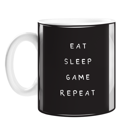 Eat Sleep Game Repeat Mug | Funny Gift For Gaming Addict, Gamer, Gaming Obsessed, Games, Eat Sleep Rave Repeat Pun, Monochrome