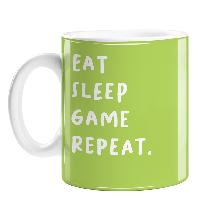 Eat Sleep Game Repeat. Mug | Funny Birthday Gift For Gaming Addict, Joke Gamer Mug, Gaming Obsessed