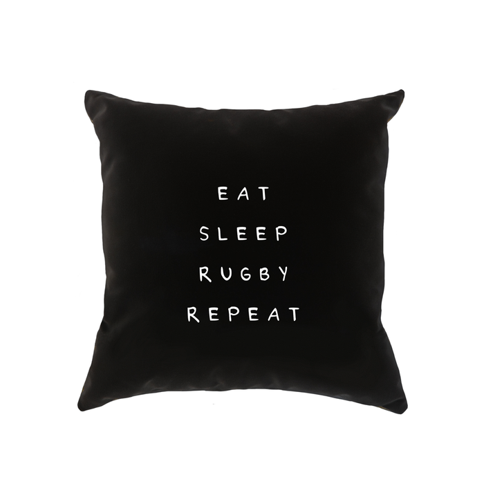 Eat Sleep Rugby Repeat Cushion | Funny Rugby Joke Gift For Rugby Player, Enthusiast, Fan, Six Nations, Rugby Bedroom Or Dorm Room Cushion