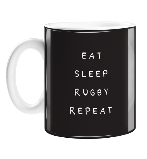 Eat Sleep Rugby Repeat Mug | Funny Rugby Joke Gift For Rugby Player, Enthusiast, Fan, Six Nations, Rugby Coffee Mug