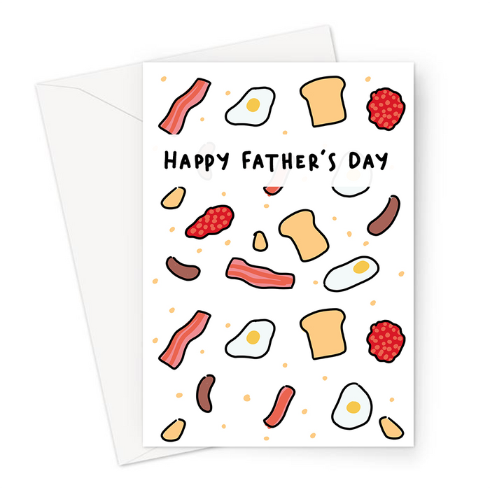 English Breakfast Happy Father's Day Greeting Card | Breakfast Print Father's Day Card, Bacon, Eggs, Sausages, Toast, Hash Browns, Fry Up Card For Dad