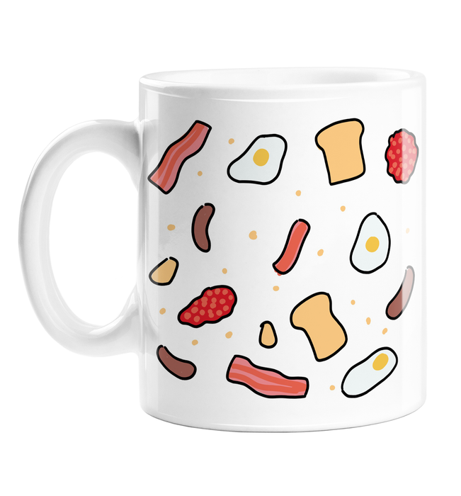 English Breakfast Print Mug | Different Breakfast Items Print Coffee Mug, Bacon, Sausages, Fried Eggs, Hash Browns, Toast, Baked Beans, Fry Up