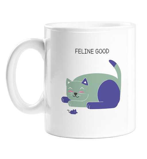 Feline Good Mug | Funny Pun Gift For Cat Lover, Owner, Kittens, Happy Cat Doodle, Feeling Good