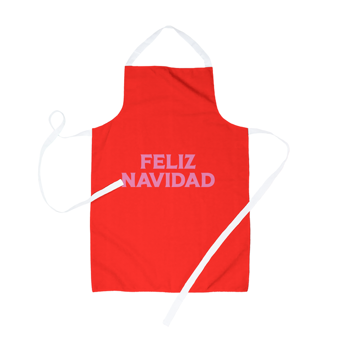 Feliz Navidad Apron | Jolly Christmas Apron In Red And Pink, Spanish Christmas, Pop Art Print
