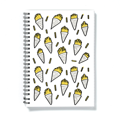 Fish And Chips In Newspaper Print A5 Notebook | Fish And Chips Pattern Notepad, Chips Wrapped Up In Newspaper Illustration, Chippy