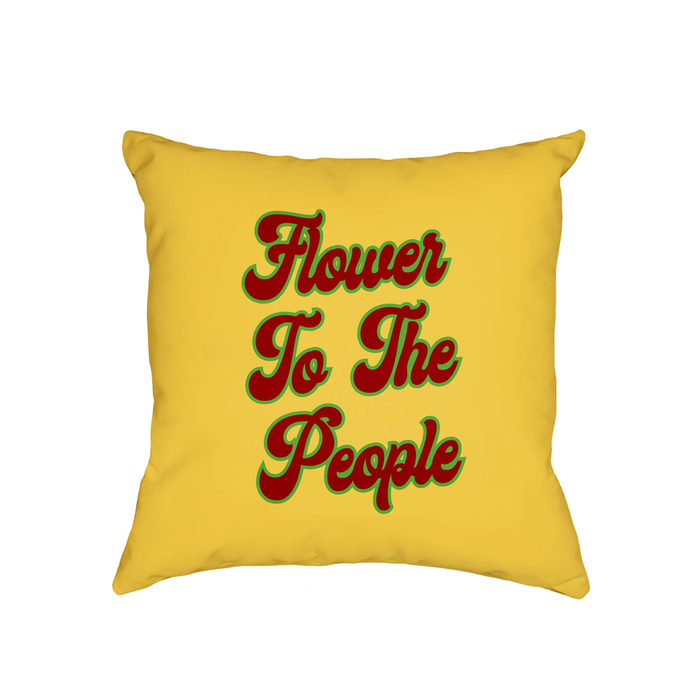 Flower To The People Cushion | Funny Cannabis Cushion, Gift For Weed Smokers, Hippie, Hippy, Power To The People, Groovy Seventies Font