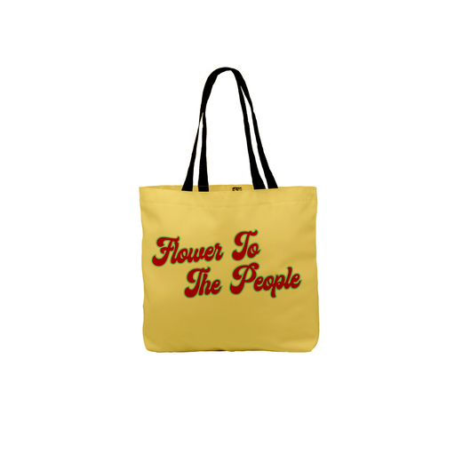 Flower To The People Tote | Stoner, Hippie Canvas Shopping Bag, Beach, Travel, Groovy Seventies Font, Power To The People