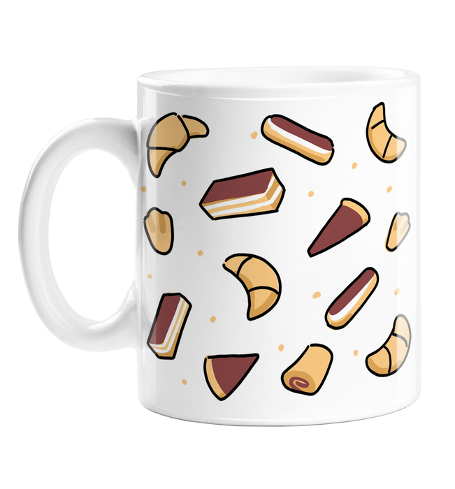 French Pastries Print Mug | Different Pastries Print Coffee Mug, Croissants, Eclairs, Tarts, Pain Au Chocolat, Continental Breakfast Mug