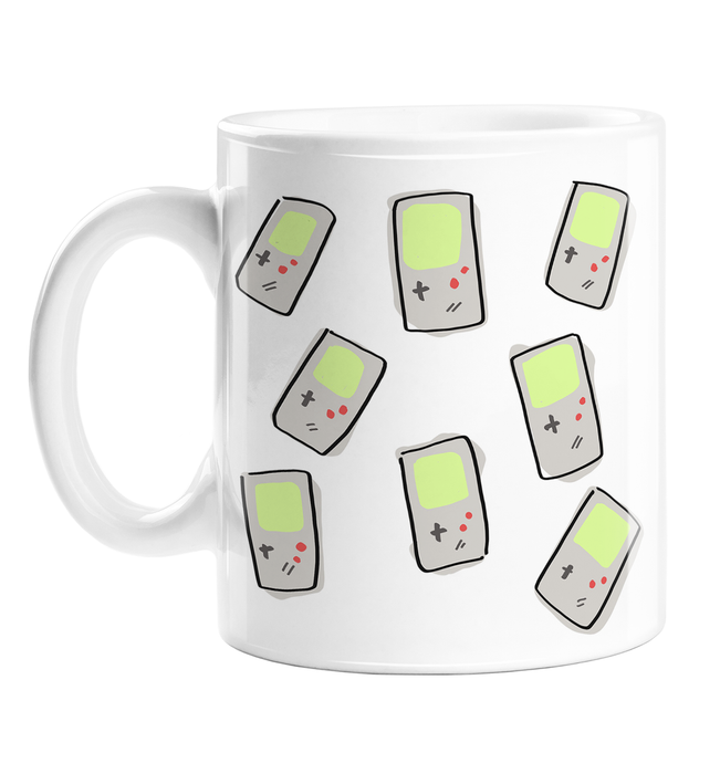 Games Console Print Mug | Gaming Pattern Coffee Mug, Games Console Print, Game Boy Illustration