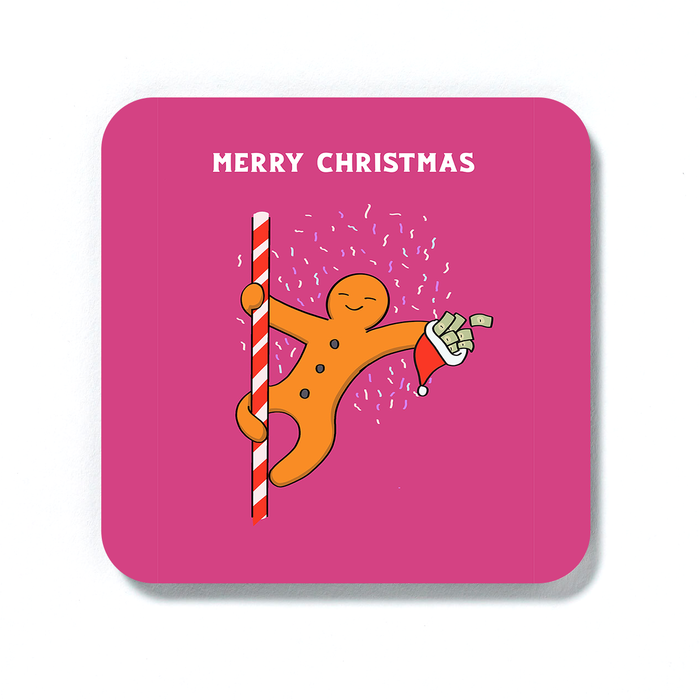 Gingerbread Man Pole Dancing Merry Christmas Coaster | Funny, Joke Christmas Gift, Stocking Filler, Drinks Mat, Gingerbread Man Dancing On Candy Cane