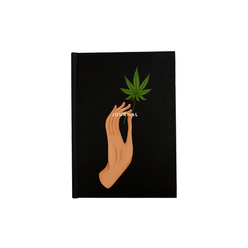 Hand Holding Weed Leaf Black A5 Journal | Hand Held Cannabis Leaf Illustration, Hand Illustrated Fine Art Marijuana Leaf, Stoner Diary