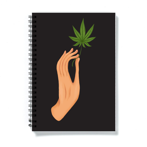 Hand Holding Weed Leaf Black A5 Notebook | Hand Held Cannabis Leaf Illustration, Hand Illustrated Fine Art Marijuana Leaf, Stoner Journal