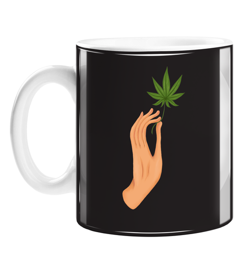 Hand Holding Weed Leaf Black Mug | Hand Held Cannabis Leaf Illustration, Hand Illustrated Fine Art Marijuana Leaf, Stoner, Ganja, Hash, Pot, 420