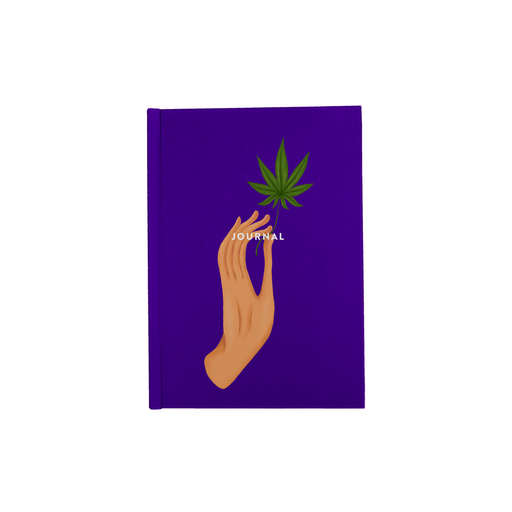 Hand Holding Weed Leaf Purple A5 Journal | Hand Held Cannabis Leaf Illustration, Hand Illustrated Fine Art Marijuana Leaf, Stoner Diary