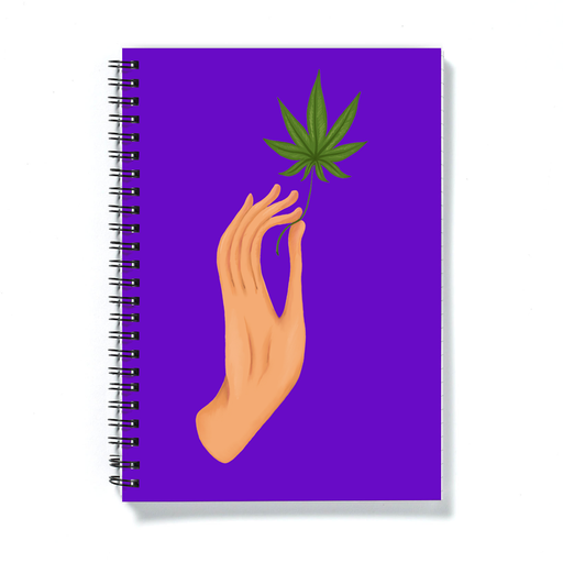Hand Holding Weed Leaf Purple A5 Notebook | Hand Held Cannabis Leaf Illustration, Hand Illustrated Fine Art Marijuana Leaf, Stoner Journal