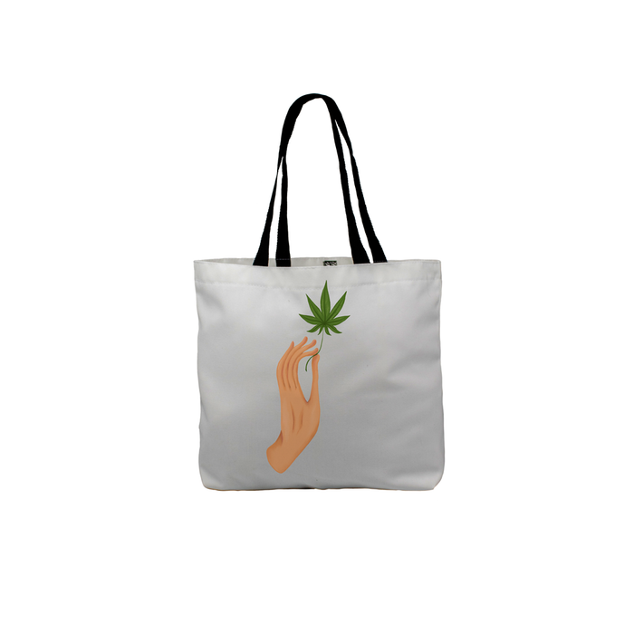 Hand Holding Weed Leaf Tote | Hand Held Cannabis Leaf Illustration, Hand Illustrated Fine Art Marijuana Leaf, Stoner Canvas Shopping Bag