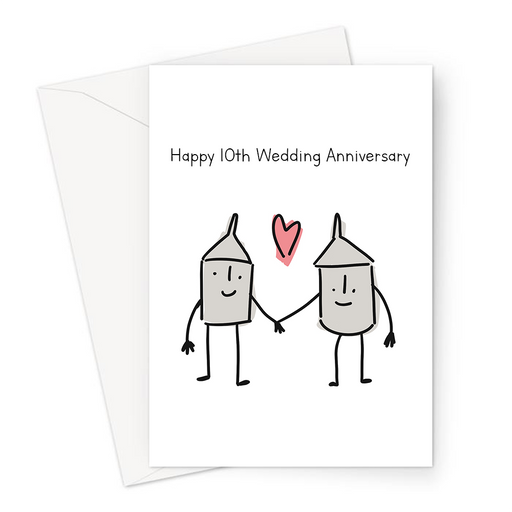 Happy 10th Wedding Anniversary Greeting Card | Tin Wedding Anniversary Card For Husband, Wife, Two Tin Cans In Love, Married Ten Years
