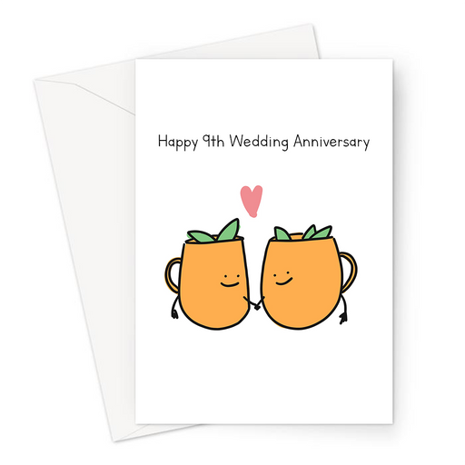 Happy 9th Wedding Anniversary Greeting Card | Copper Wedding Anniversary Card For Husband Or Wife, Moscow Mules In Love, Married Nine Years