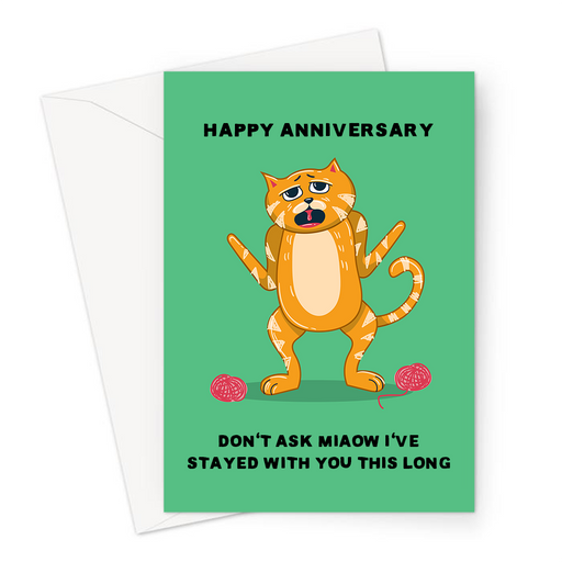 Happy Anniversary Don't Ask Miaow I've Stayed With You This Long Greeting Card | Cat Pun Anniversary Card For Him, For Her, Confused Looking Cat