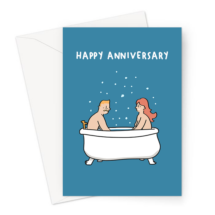 Happy Anniversary Naked Couple In A Bubble Bath Greeting Card | Funny Anniversary Card For Couple, For Her, For Him, Nude Couple Sharing A Bath
