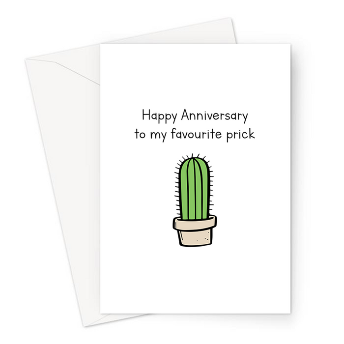 Happy Anniversary To My Favourite Prick Greeting Card | Rude, Funny Anniversary Card, Valentines, For Him, For Her, Cactus Doodle, Cacti